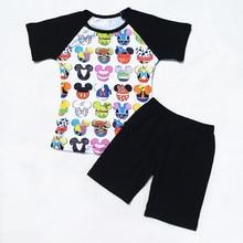2018 Boy Mickey outfits New Boutique Boy Mickey Milk Silk Raglan Shirt Match Black Cotton Shorts