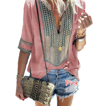 Fashion Tshirt Haut Femme Casual Top Tee Bohemian Loose and Comfortable  Camiseta Feminina Summer Top T Shirt V-Neck Pink Top