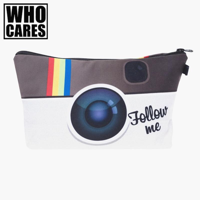 Instagram Follow me 3D Printed 2017 women cosmetic bag neceser makeup bag travel bolsos mujer de marca famosa toiletry organizer instagram socialmatic camera цена