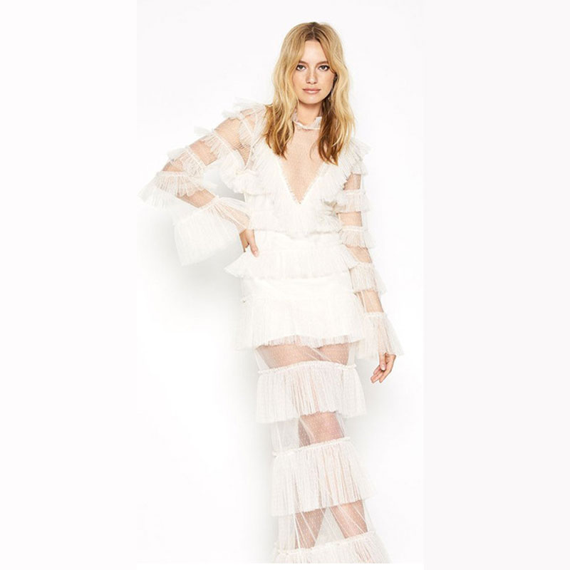 Sexy à volants femmes solide longue robe 2019 Boho Style dame Maxi robe