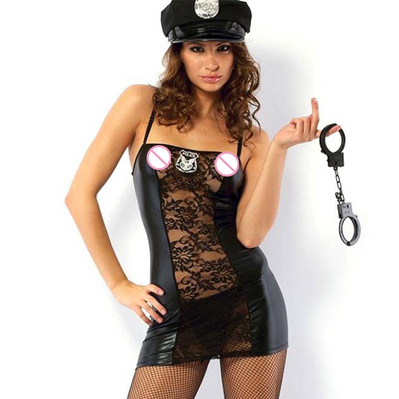 Halloween <font><b>Cop</b></font> Cosplay Clothing With Hat Handcuffs Transparent Lace Police Role-Playing Dress Vinyl Women Backless <font><b>Sexy</b></font> Costume image