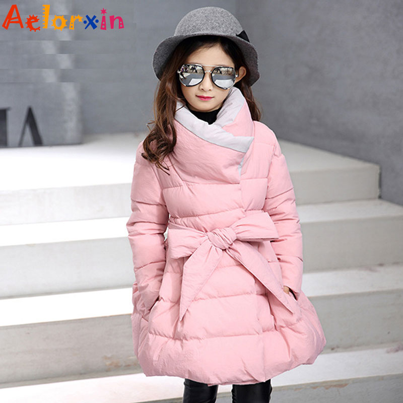 Girls Winter Coats Cotton Padded Jackets For Girl Kids Clothes Thicken Warm Fur Collar Winter Parkas Brand 2017 Children Clothes baby girls parkas 2017 winter thick outerwear casual coats children clothing kids clothes solid thicken cotton padded warm coat
