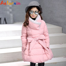 Girls Winter Coats Cotton Padded Jackets For Girl Kids Clothes Thicken Warm Fur Collar Winter Parkas Brand 2017 Children Clothes