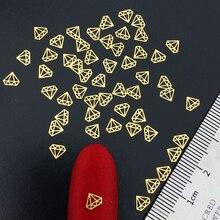 Beauty 4MM Gold Diamond Shape Nail Decals 100pcs Metal Stud Nails Art Rivet Charms Nails Accessories Nail Art Decorations