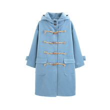 Winter Women Outerwear 2018 New Wild Medium Long Female Woolen Coat Loose Hooded Horn Buckle High Grade Ladies Woolen Coat Cw132(China)