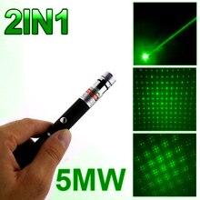 Súper Potente Puntero Láser Pluma Caneta 2in1 Puntero Láser 5 mw Potente Láser Verde Violeta Lazer Verde Con Tapa de Estrellas alta calidad