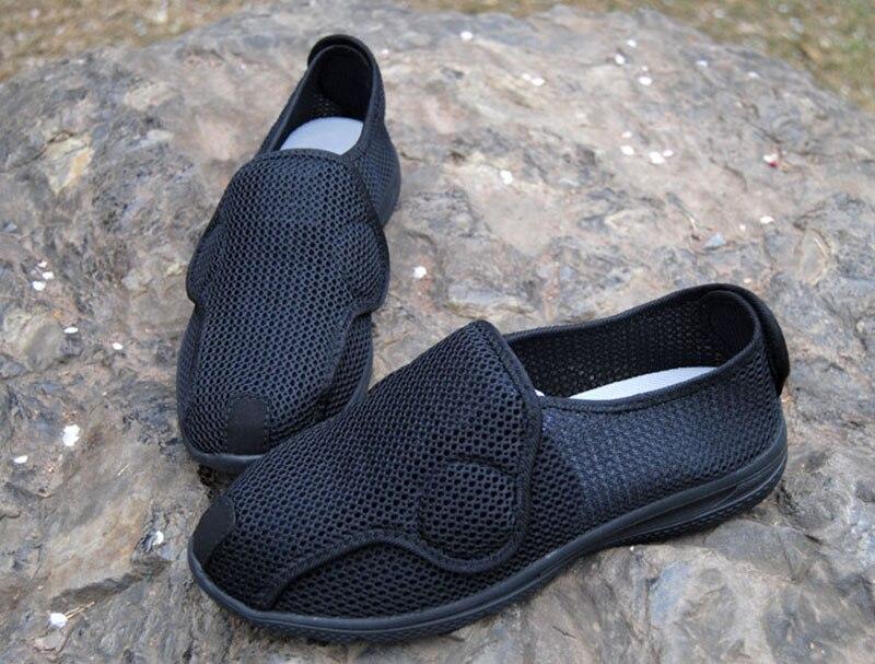 حار القدم هو منتفخ أحذية أنماط للرجال والنساء من Valgus الإبهام القدم واسعة أروح أحذية أحذية تمريض خرف السكري-في أحذية نسائية مسطحة من أحذية على  مجموعة 3