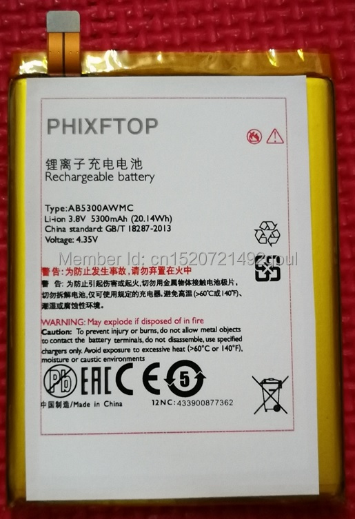 PHIXFTOP Original AB5300AWMC battery For PHILIPS W6610 cellphone AB5300AWMT for Xenium CTW6610 Mobile phone 4.35V 5300MAH