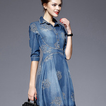 f63d46ac30 DNSDFS 5XL Summer Women Jeans Dress Vintage Embroidery Bodycon Plus Size  Half Sleeve