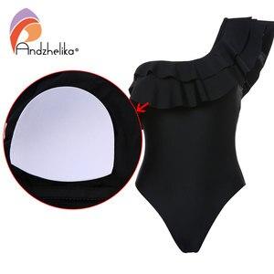 Image 5 - Andzhelika maillot de bain asymétrique à volants pour femmes, asymétrique épaule dénudée, vêtements de plage, noir, solide, 2020