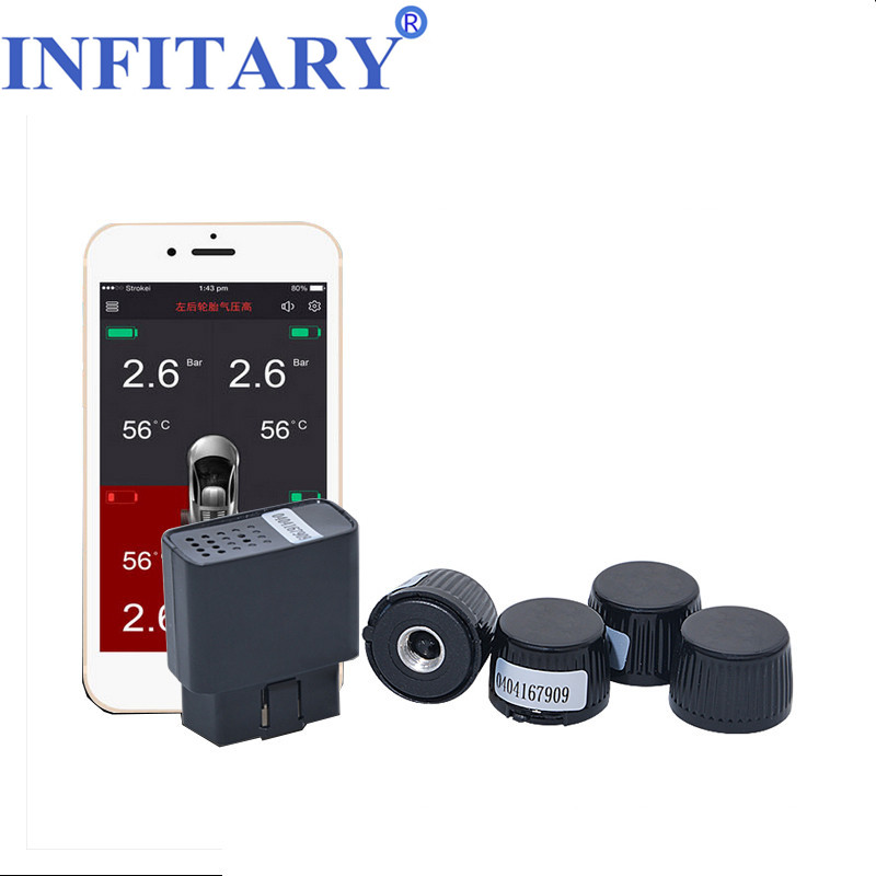 Smart Car TW500 TPMS bluetooth Mobile phone APP display Tire Pressure Monitor with 4 external sensor support OBD Interface idoing special tpms newest technology car tire diagnostic tool with mini inner sensor auto support bar and psi