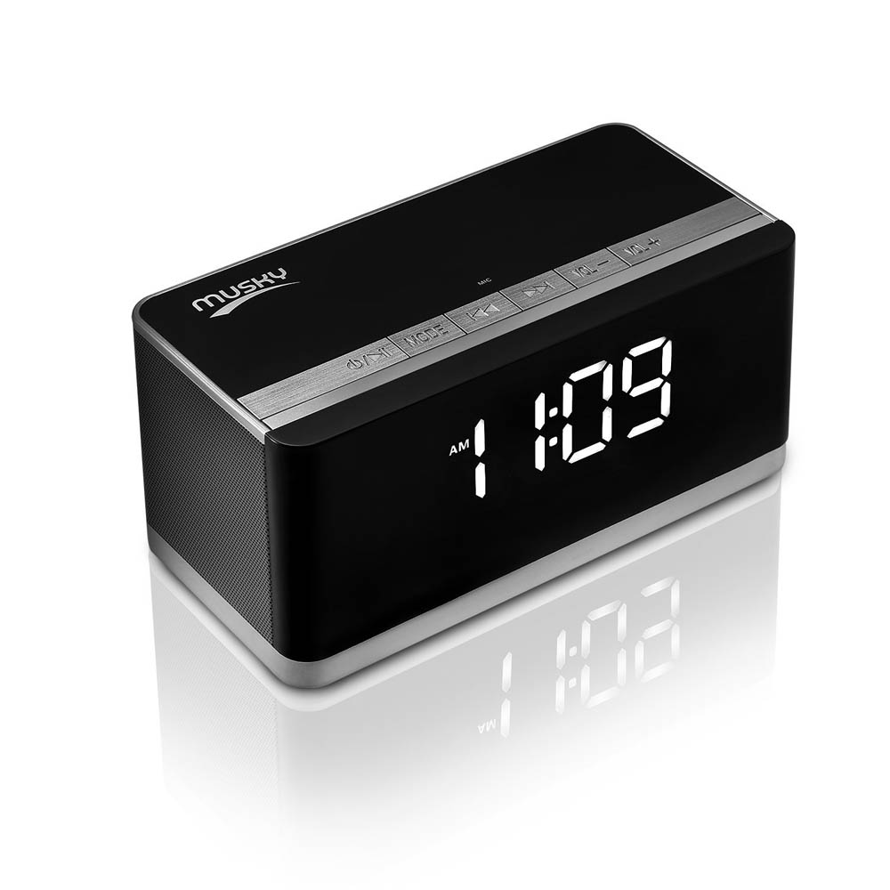 ФОТО Musky DY-27 10W Portable Bluetooth Speaker with LED Display, Alarm Clock, Hands-free Answer Calls, FM and Card Music