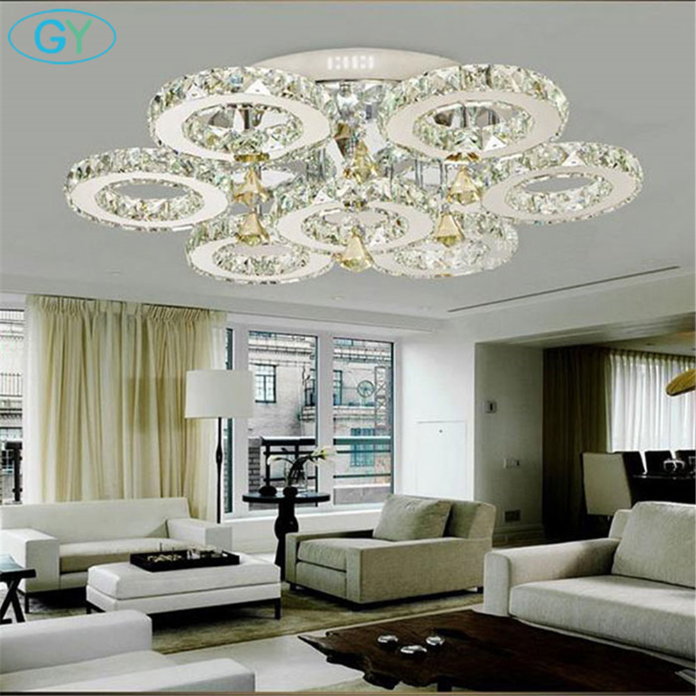 AC100-240V 56W LED Crystal Lights Big Round Circle Indoor Ceiling Lighting Fixture 7 rings Lustres led lamps for home luzes