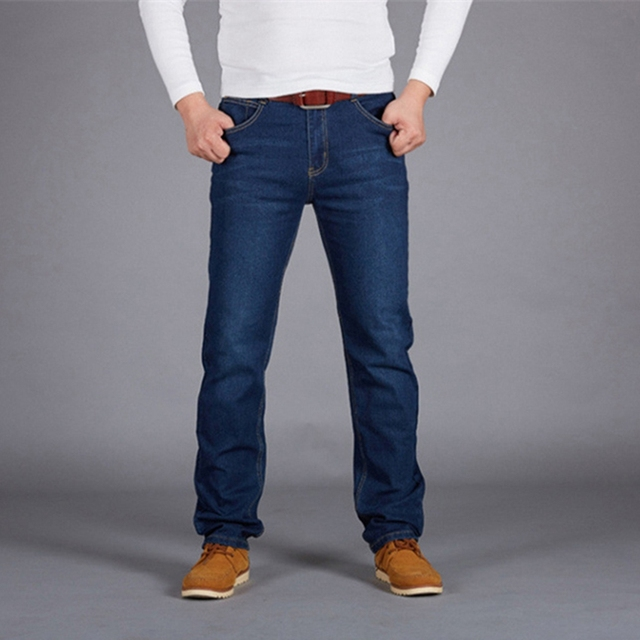 Fashion Man Jeans High Stretch Straight Long Slim Trousers Black Blue Casual Denim Male Business Jeanswear Pants Big Size Pants