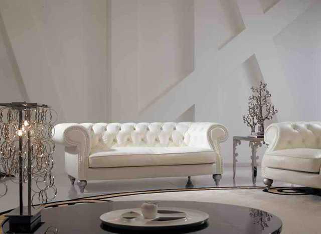 High Grade ELFENBEIN Farbe Echtes Leder Wohnzimmer Sofa Set Luxus Chesterfield