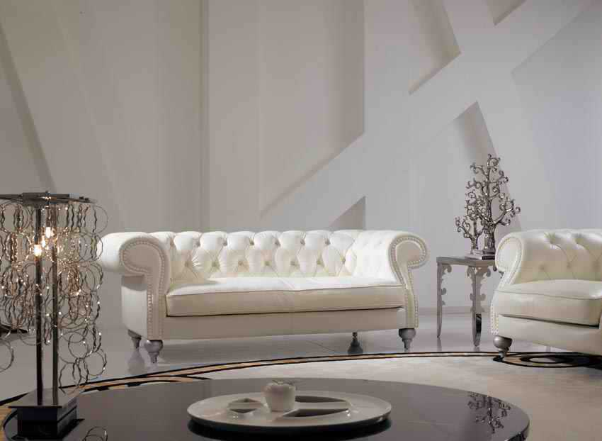 High Grade IVORY Color Genuine Leather Living Room Sofa Set Luxury Chesterfield Sofa