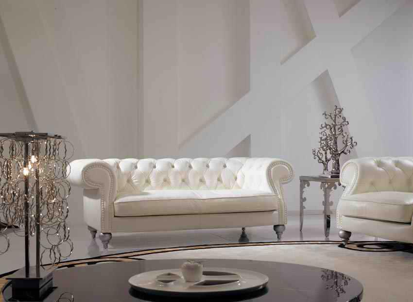 High Grade ELFENBEIN Farbe Echtes Leder Wohnzimmer Sofa Set Luxus Chesterfield SofaChina