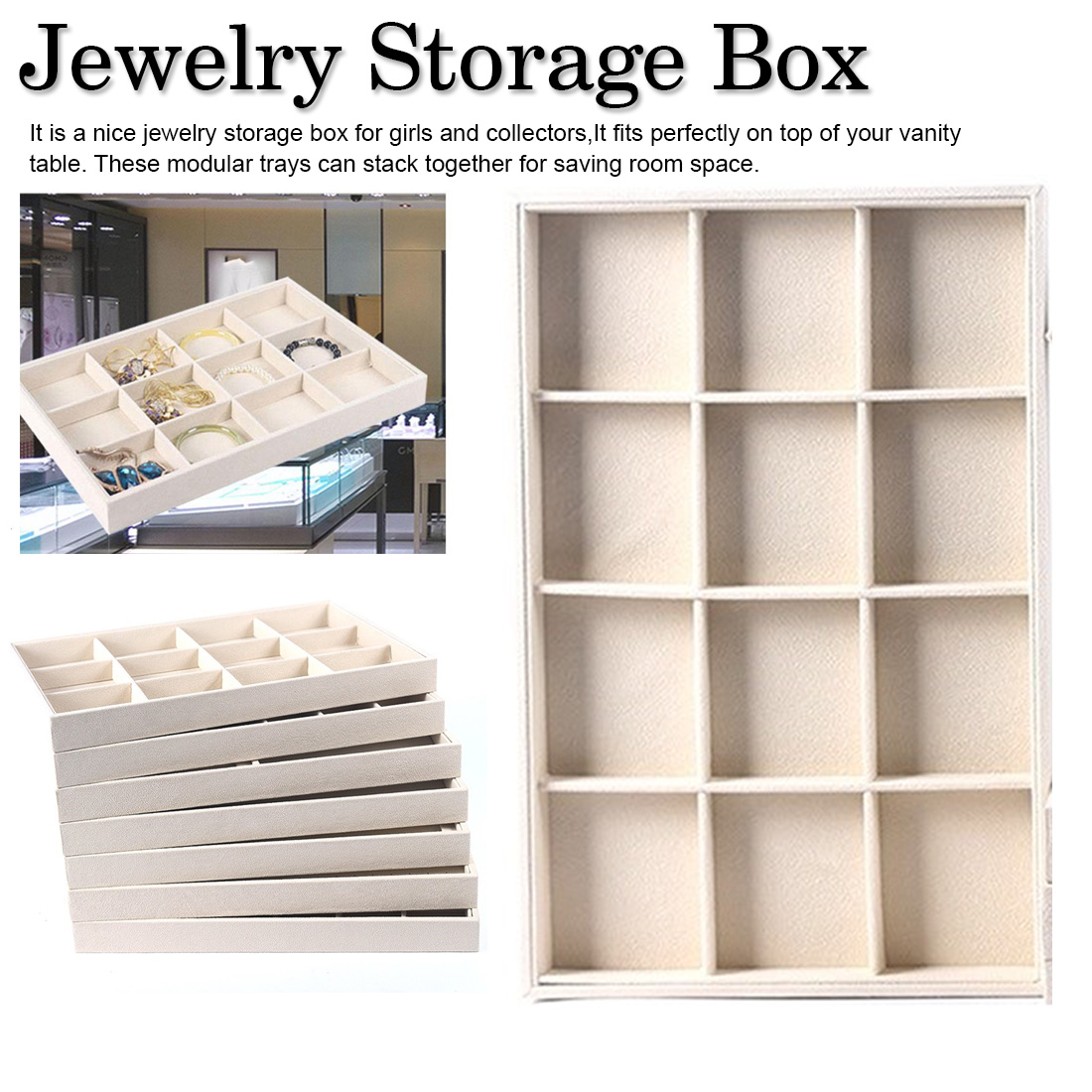 Ladies New Arrival DIY Jewelry Box Drawer Storage Organizer Soft Jewelery Earring Necklace Pendant Bracelet Tray
