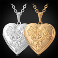 U7 Heart Photo Locket Necklaces & Pendants Yellow Gold Plated Wholesale Rose Necklace Women Jewelry Valentine Gift P254
