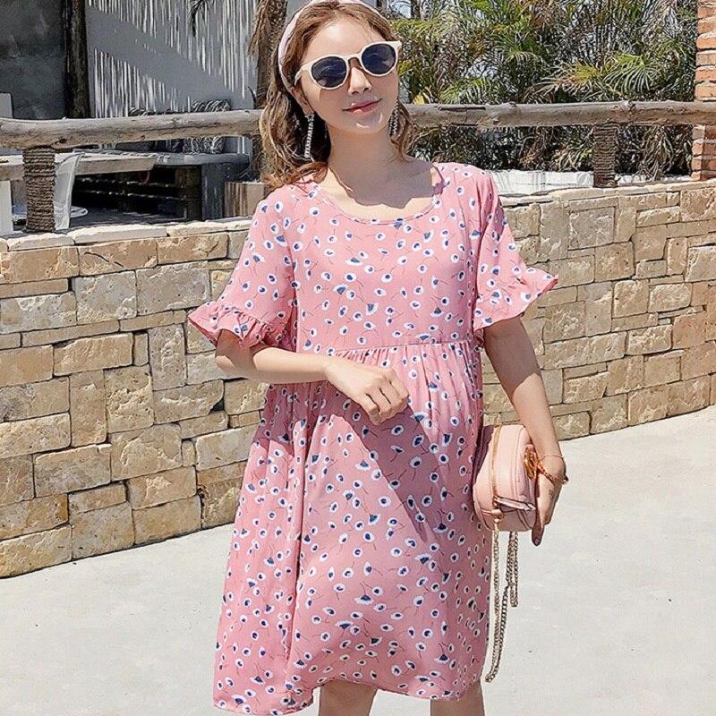 New summer maternity clothing print maternity dresses pregnancy dresses maternity summer clothing 1727