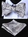 Bp923a gris negro Paisley 100% seda Jacquard tejida hombres auto pajarita BowTie Pocket Square pañuelo pañuelo Set Suit