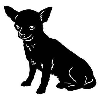 13.2*12.7CM Chihuahua Dog Car Stickers Endearing Vinyl Decal Car Styling Truck Decoration Black/Silver S1-0953 image