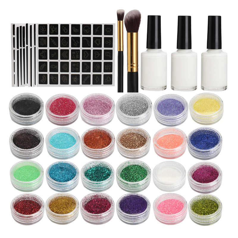 NEW Body Art Glitter Tattoo Kit 118 Pattern Stencils Powder Brush Glue Temporary Tattoos Tools