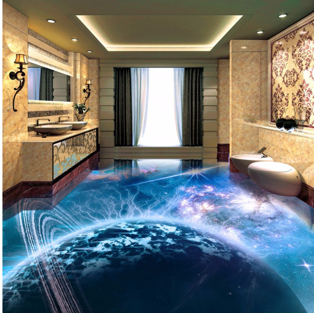 Free Shipping 3D fantasy cosmic planet spacecraft floor tile ...