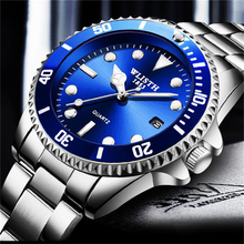 WLITH Luxury Silver Men Dress Watches Green Color Stainless