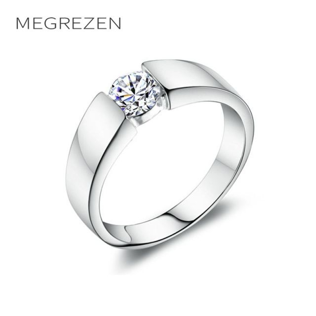 MEGREZEN Male Wedding Rings Party Jewelry Wholesale Zirconia