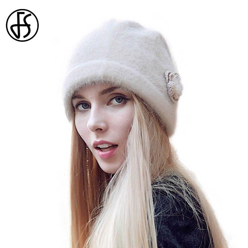 2be558a43de FS Women Winter Beanie Hat Rabbit Fur Wool Knitted Hat Solid Colors Gorros  Cap Bobble Hat Bonnet Warm Skullies-in Skullies   Beanies from Women s  Clothing ...