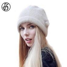 купить FS Women Winter Beanie Hat Rabbit Fur Wool Knitted Hat Solid Colors Gorros Cap Bobble Hat Bonnet Warm Skullies по цене 1037.54 рублей