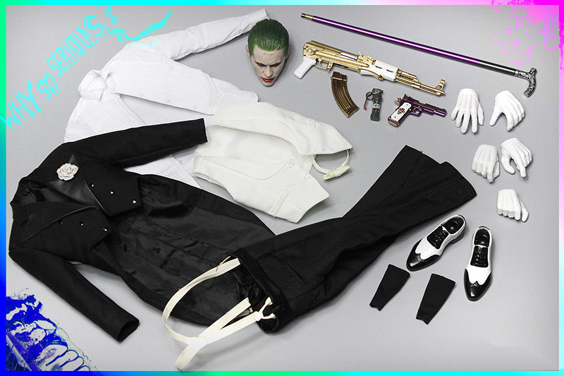 1/6 Scale Joker Jared Leto Head Sculpt and Clothes Set A005 For 12   Male Bodies Figures no body included 1/6 Scale Joker Jared Leto Head Sculpt and Clothes Set A005 For 12   Male Bodies Figures no body included