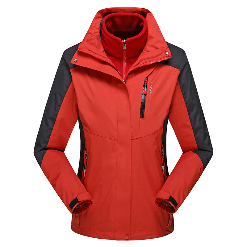 lady Top Hot sale Waterproof Clothing Windproof Mountaineering 2in1 Coat Winter Thick Warm Out Jackets