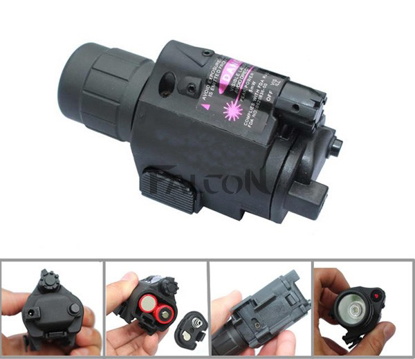 Red Dot Laser Sight Hunting Scopes Optical Sight Riflescope + Compact Tactical Flashlight Torch Combo with 20mm Rail Mount