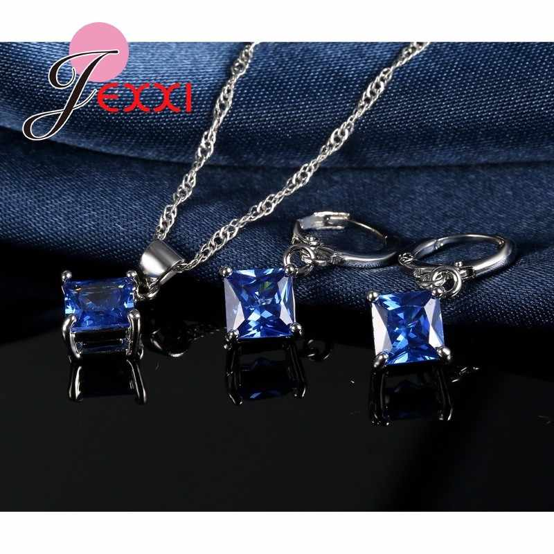 אלגנטי כחול חתונה גביש בסדר 925 כסף סטרלינג תליון שרשרת ועגיל סט לנשים Bijoux