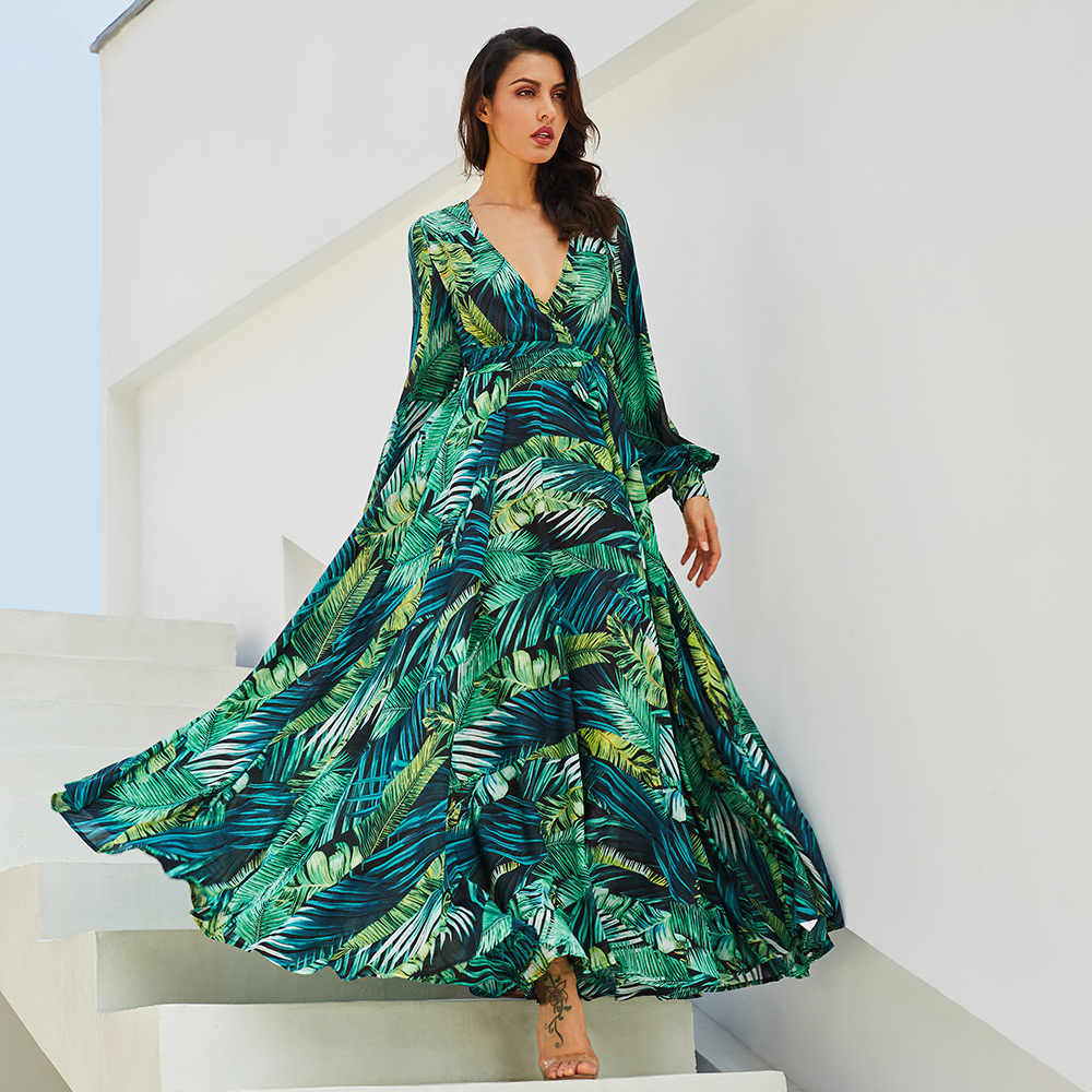 2018 New women maxi dress boho Tropical v neck lace up green print plus  size dress summer dress beach casual holiday long dress