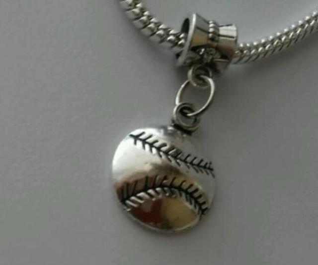 Baseball Softball Sports Ball Dangle Bead Fits European Charm