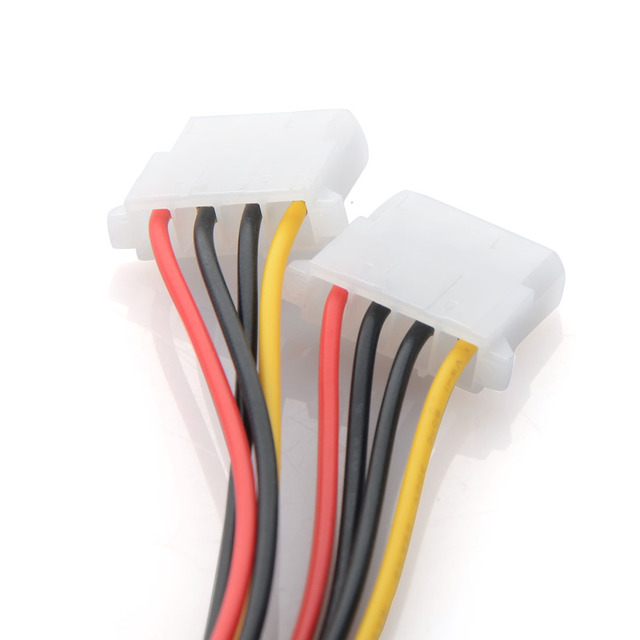 8.28 SALE! New Power Adapter Cable 15 Pin SATA Male to Dual Molex 4 Pin IDE HDD Female Computer Cables & Connectors