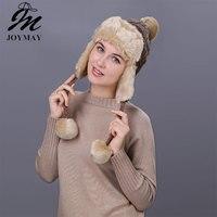 Joymay Winter Hat Bomber Hats For Men Women Thicken Balaclava Cotton Fur Winter Earflap Keep Warm Caps Russian Skull Mask W232