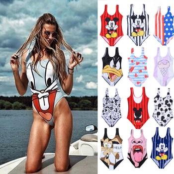 Swimsuit 2019 One Piece Bikini Push Up Cartoon Print One Piece Thong Monokini String Bathing Suit Women Plus Size Swimwear