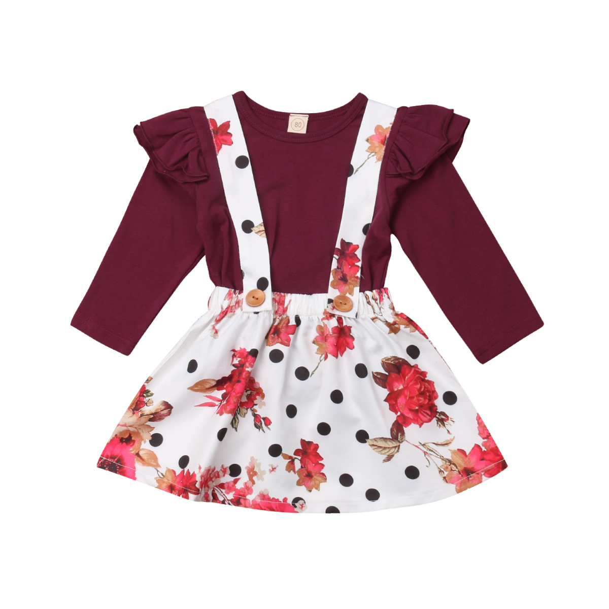 Autumn Dress Kids Baby Girl Fly Sleeve Red Tops Floral Tutu Polka Dots Dress Party Princess Clothes