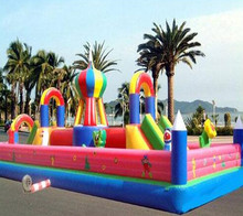 Outdoor Inflatable fun city material PVC bounce slide jumping with factory price