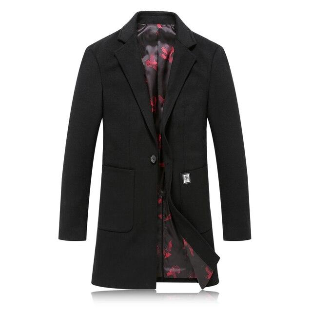 2016 de invierno de los hombres de ocio de Alta calidad gabardina de lana chaquetas de Los Hombres de lana de Un Solo botón Casual Abrigo de Cachemira de Los Hombres Blazers