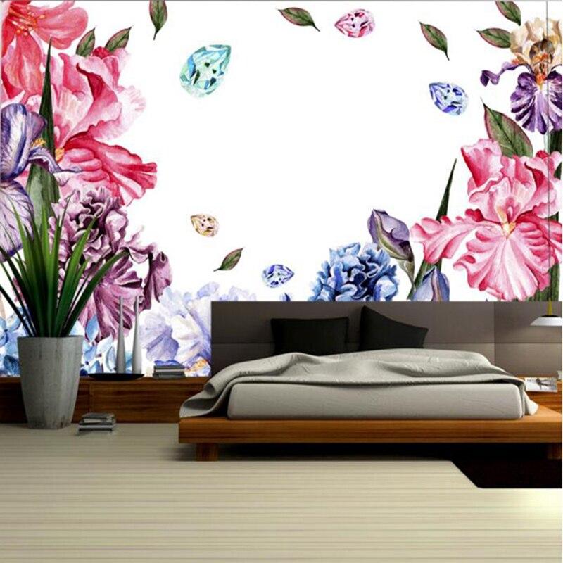 3D для рабочего стола Обувь для девочек настенная ручная роспись акварель цветочные обои ...
