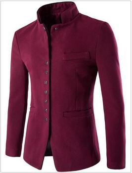 Chinese tunic suit  Men woolen coat  Single button men stand collar casual jacket CH09 8870