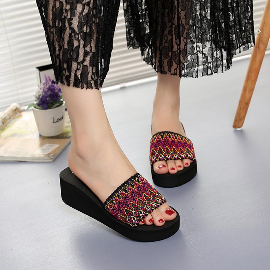 2018 Beach Sandals Women Summer Wedges Sandals Indoor Outdoor Flip-flops Beach Shoes High Quality Zapatos De Mujer 0731