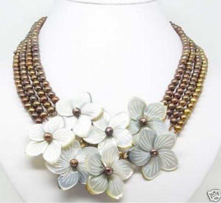 Gros > 4 linhas 6 - 7 mm perle chocolat MOP Shell collier de fleurs