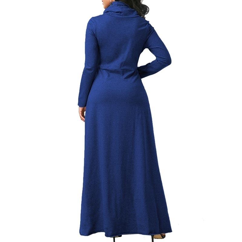Robe en laine grande taille avec col roulé bleu de dos