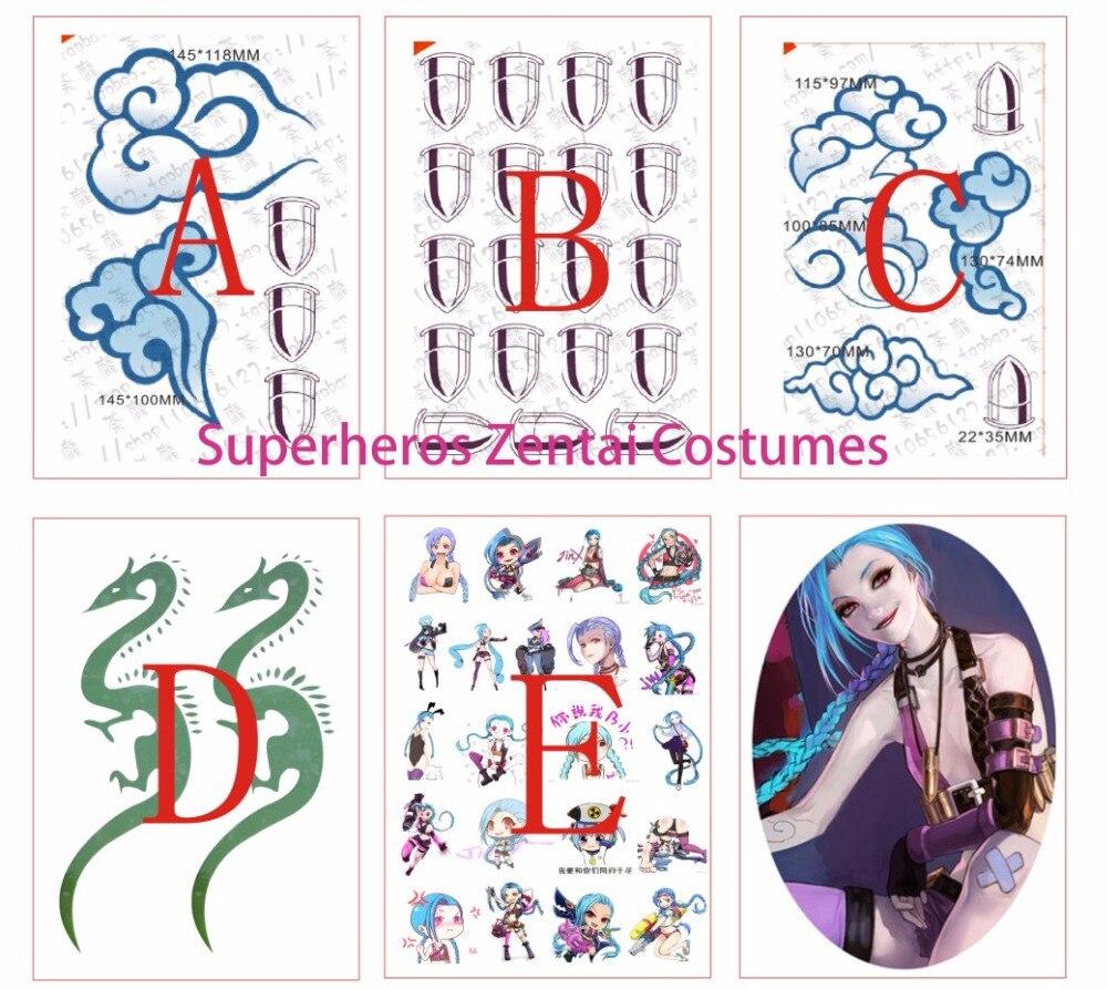 LOL jinx Body Art Tattoo for Halloween Jinx Cosplay Costume Custom Game Anime Cosplay Tattoo Sticker